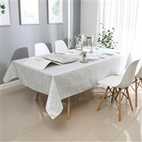 Jacquard Tablecloth #1317 White/Silver -  Prepackaged Tablecloths