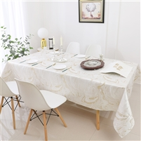 Jacquard Tablecloth #1327 White/Gold Wave -  Prepackaged Tablecloths