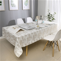 Velvet Tablecloth #1402 White Gold Mosaic Print -  Prepackaged Tablecloths