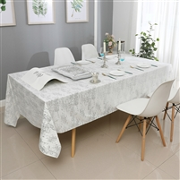 Velvet Tablecloth #1403 White Silver Mosaic Print -  Prepackaged Tablecloths