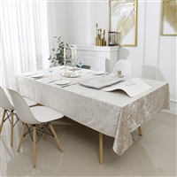 Velvet Tablecloth #1404 Beige -  Prepackaged Tablecloths