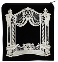 Majestic Giftware Tefillin Bag Bar Mitzvah Velvet Embroidery Four Corner Design Stones 10.5 x 10.5 Black//Silver TF820BMBKS