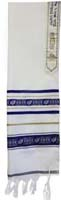 Tallit Wool Ribbon Star Of David Blue Gold