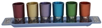 "Emanuel Set 6 Cups with Metal Cutout - Multicolor - Cup 3""H - Tray 14""H x 3""W - #YE-GG-3"