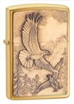Zippo Lighter - Where Eagles Dare Emblem Brushed Brass - 20854