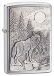 Zippo Lighter - Timberwolves Emblem Brushed Chrome - 20855