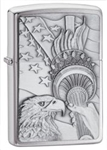 Zippo Lighter - Something Patriotic Brushed Chrome - 20895