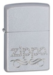 Zippo Lighter - Scroll and Logo Satin Chrome - 24335