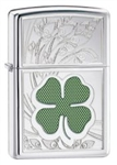 Zippo Lighter - Shamrock Clover High Polish Chrome - 24699