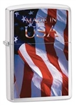 Zippo Lighter - Made in USA Flag Brushed Chrome - 24797