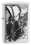 Zippo Lighter - Resting Cowboy Emblem Brushed Chrome - 24879