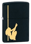 Zippo Lighter - Girl Stripper Pole Dancing Black Matte - 24892