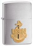 Zippo Lighter - Navy Emblem Anchor Brushed Chrome - 280ANC