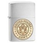 Zippo Lighter - Army Emblem Brushed Chrome - 280ARM