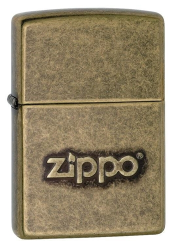 Zippo Lighter - Classic w/ Logo Antique Brass - 28994