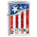 Zippo Lighter - American Flag/Logo High Polish Chrome - 29095