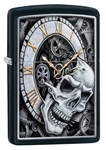 Zippo Lighter - Skull Clock Design Black Matte - 29854