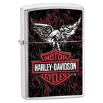 Zippo Lighter - Harley Davidson Eagle & Leather Brushed Chrome - 852203