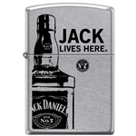 Zippo Lighter - Jack Lives Here Satin Chrome - 852536