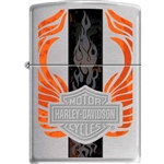 Zippo Lighter - Harley Davidson Orange Flame Brushed Chrome - 852546