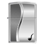 Zippo Pipe Lighter Checkered Brushed Chrome - 852875