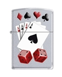 Zippo Lighter - 4 Aces and Dice Satin Chrome - 853230