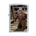 Zippo Lighter - John Wayne The Cowboys Satin Chrome - 853284