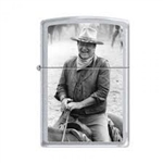 Zippo Lighter - John Wayne Trail Boss Satin Chrome - 853285