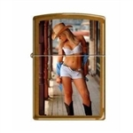 Zippo Lighter - Sexy Cowgirl White Outfit Toffee - 853290