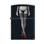 Zippo Lighter - Red Shoes Legs Crossed Black Matte - 853384