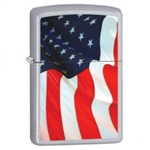 Zippo Lighter - Old Glory Satin Chrome - 853409