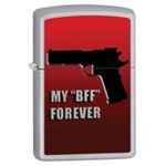 Zippo Lighter - My BFF Forever Satin Chrome - 853410