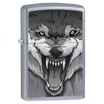Zippo Lighter - Snarling Wolf Satin Chrome - 853445