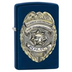 Zippo Lighter - Police Badge Navy Blue Matte - 853446