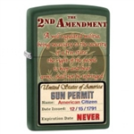 Zippo Lighter - 2nd Amendment Gun Permit Green Matte - 853449