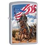 Zippo Lighter - Cowboy on Horse w/ Flag Satin Chrome - 853454