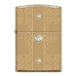 Zippo Lighter - Deep Carved Walled Solid Brass w/ 3 Swarovski Crystals - 853458