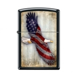 Zippo Lighter - USA Soaring Eagle Black Matte - 853671