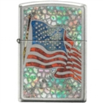 Zippo Lighter - American Flag Fuzion High Polished Chrome - 853743