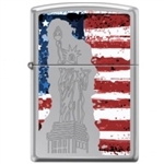 Zippo Lighter Statue of Liberty on American Flag HP Chrome - 853744