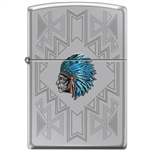 Zippo Lighter - Indian Headdress High Polish Chrome - 853891