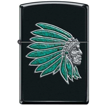 Zippo Lighter - Chief With Turquoise Feathers Black Matte - 853920