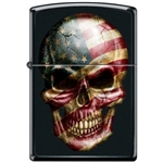 Zippo Lighter - Skull With Flag Black Matte - 853922