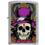 Zippo Lighter - Skull With Top Hat Street Chrome - 853923