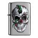Zippo Lighter - Skull & Snakes Brushed Chrome - 853924