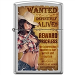 Zippo Lighter - Cowgirl W/Pistol Satin Chrome - 853933