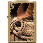 Zippo Lighter - Hat Horseshoe Rope Brushed Brass - 853935