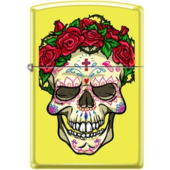Zippo Lighter - Skull With Roses Neon Yellow - 853937