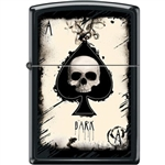 Zippo Lighter - Dark Ace Skull Black Matte - 853938
