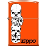 Zippo Lighter - Skulls Stacked With Logo Neon Orange - 853939